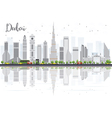 Dubai City skyline with Gray Skyscrapers vector image vector image