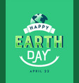 earth day vintage green lettering quote sign vector image vector image