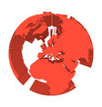 earth globe model with red extruded lands focused vector image vector image
