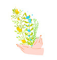 female hands holding a bunch wild flowers hand vector image vector image