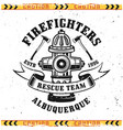 firefighters emblem with fire hydrant vector image vector image