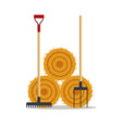 flat dried haystack with hayfork and rake isolated vector image vector image