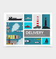 flat shipping composition vector image