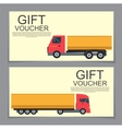 Gift Voucher Template with machines for cargo vector image vector image