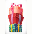 gifts stack of boxes 3d icon vector image vector image