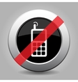 gray chrome button - no old mobile phone vector image vector image