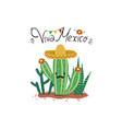 greeting card with cacti and viva mexico vector image