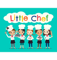 group of young chef children kids cartoon vector image vector image