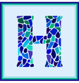 H - letter - Green Watercolor mosaic vector image vector image