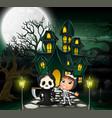 happy halloween costume kid in front of the haunte vector image vector image