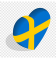 Heart of sweden flag colors isometric icon