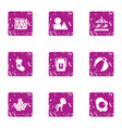 holidays for juvenile icons set grunge style vector image vector image