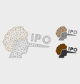 ipo lier mesh 2d model and triangle mosaic vector image vector image