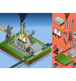 Isometric Coal Plant in Electricity Production vector image vector image