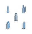 isometric skyscraper set of tower building urban vector image vector image