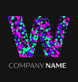 letter w logo with pink purple green particles vector image vector image