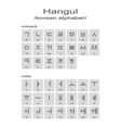 monochrome icons with hangul korean alphabet vector image vector image