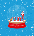 new year and christmas santa claus and deer globe vector image vector image