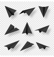 realistic black handmade paper planes isolated vector image