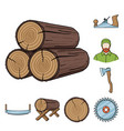 sawmill and timber cartoon icons in set collection vector image