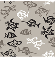 seamless grayscale pattern with aquatic animals vector image vector image