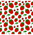 seamless strawberry and cherry pattern vector image vector image