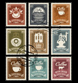 set of retro stamps on the theme of coffee vector image vector image