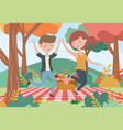 smiling woman and man picnic nature landscape vector image