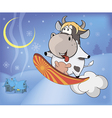 Snowboarding cow cartoon vector image vector image