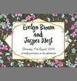 waxflower wedding invitation card template floral vector image