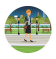 woman business walk park view night vector image