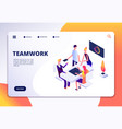 workspace isometric landing page people team work vector image