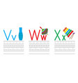 writing practice letters vwx education for kids vector image vector image