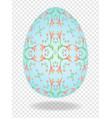 3d blue painted easter egg with a pattern of vector image vector image