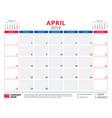 april 2019 calendar planner stationery design vector image