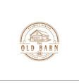 barn logo with a circle vintage style illu vector image