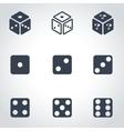 black dice icon set vector image