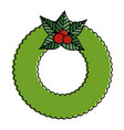 christmas crown with flowers decorative vector image