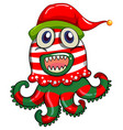 Christmas theme with monster in christmas hat vector image vector image