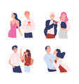 collection of women and men trying to present vector image vector image