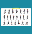 collection set of walking and running businessman vector image