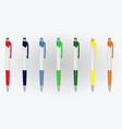 colorful set of plastic pens vector image vector image