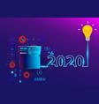 creative light bulb idea 2020 new year vector image
