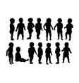 cute baby activity silhouettes vector image