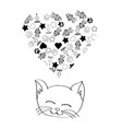 cute cartoon cat dreaming vector image