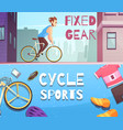 cycle sports horizontal cartoon banners vector image vector image