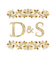 d and s vintage initials logo symbol the letters vector image