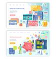 debit and credit card saving accounts web set vector image vector image
