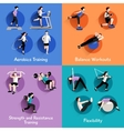 Fitness 4 flat icons square banner vector image