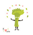 funny cute broccoli character keto diet lover vector image vector image